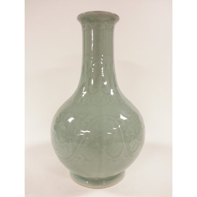 Floral Celadon Vases - A Pair - Image 3 of 6
