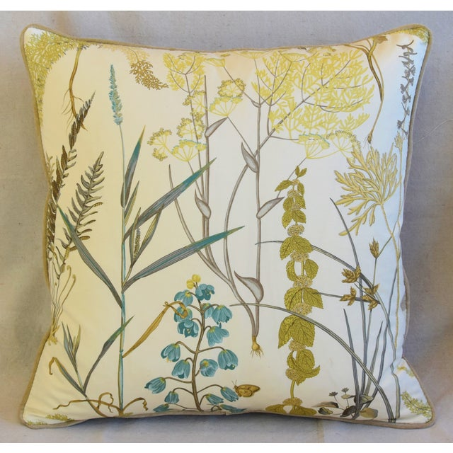 "Boho Chic Botanical Wildflower Floral Feather/Down Pillows 23"" Square - Pair For Sale - Image 3 of 13"