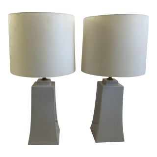 Barbara Barry Transitional White Ceramic Lamps-A Pair