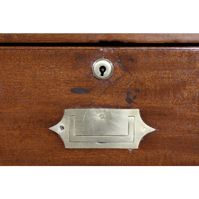 Early 19th Century Victorian Campaign Mahogany Military Chest For Sale - Image 5 of 11