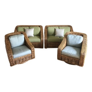 2011 Lane Venture Wicker & Rattan Corsica Loveseats & Swivel Chairs - Set of 4