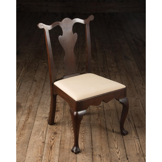 Fabric 1990s Vintage Madison Square Furniture Chippendale Style Mahogany Side Chair For Sale - Image 7 of 13