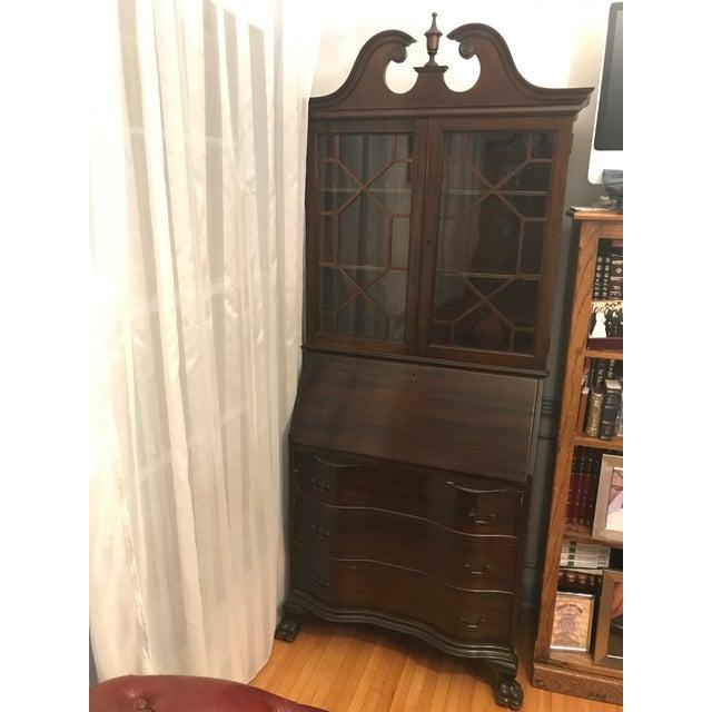 Queen Anne Queen Ann Mahogany Secretary Desk Armoire For Sale - Image 3 of 11