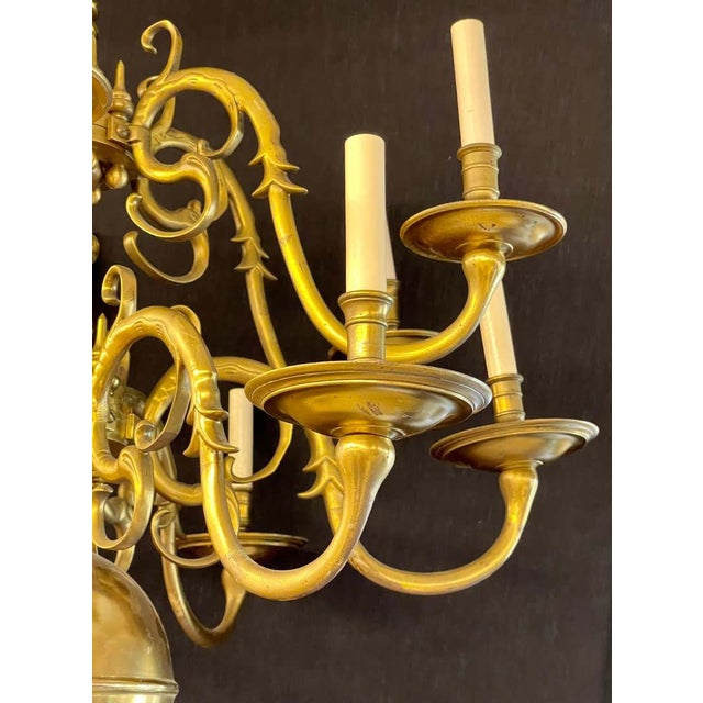 19th Century English Georgian Style Bronze Chandelier For Sale - Image 4 of 12