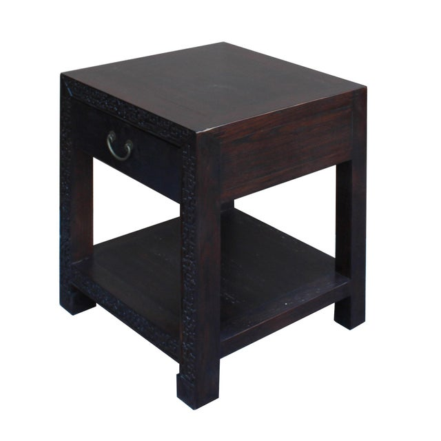 Asian Chinese Oriental Brown Dragon Rim Carving End Table Nightstand For Sale - Image 3 of 7