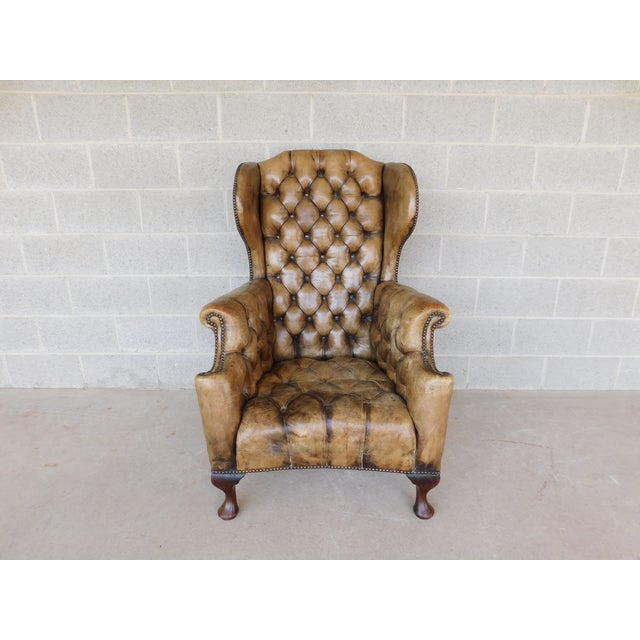 Antique English Tufted Leather Georgian Style Wingback Chair For Sale - Image 4 of 12