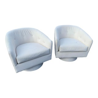 Marge Carson White Coastal Swivel Lounge Chairs - a Pair For Sale