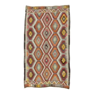 Handwoven Vintage Turkish Kilim Area Rug - 4′10″ × 8′5″ For Sale