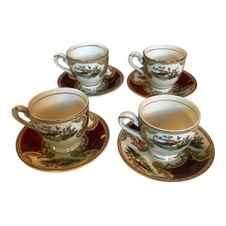 1930s Myott Staffordshire Chelsea Bird Red Demitasse Cups & Saucers - Set of 4 For Sale