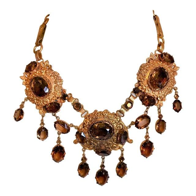 1950 Gold Tone Smoky Topaz Glass Bib Necklace For Sale