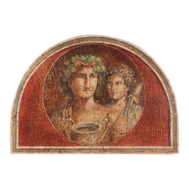 Large Fresco Painting on Wood of Grecian Man & Woman by Jacques Lamy - Image 1 of 9