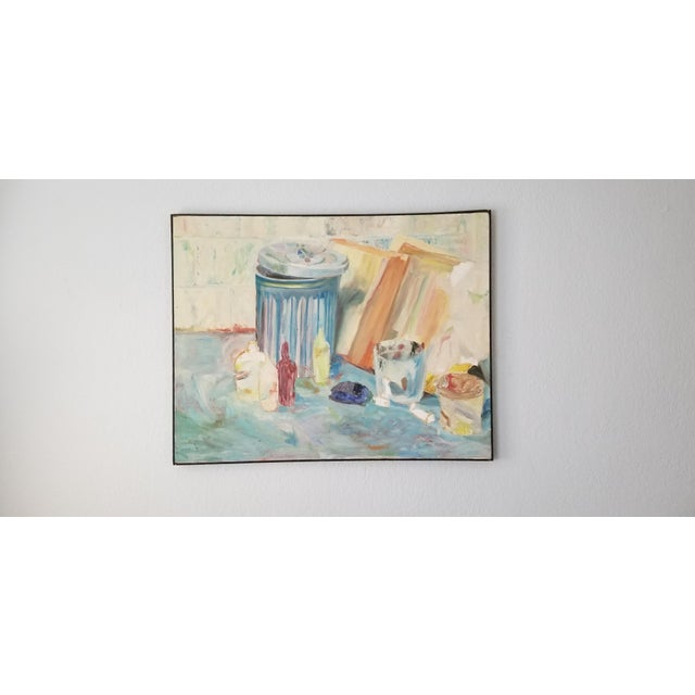 Mid-Century Modern 1970's John Purcell Abstract Still Life Oil on Canvas Painting, Framed For Sale - Image 3 of 12