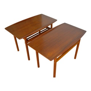 Grete Jalk for P. Jeppesen Pair of Danish Teak End Tables