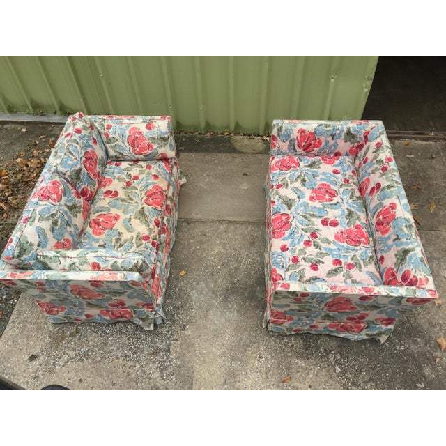 Vintage Mid-Century Modern Floral Love Seats - a Pair - Image 10 of 11