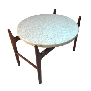 Rare Harvey Probber Sculptural Stilted Walnut Framed With Terrazzo Top Table