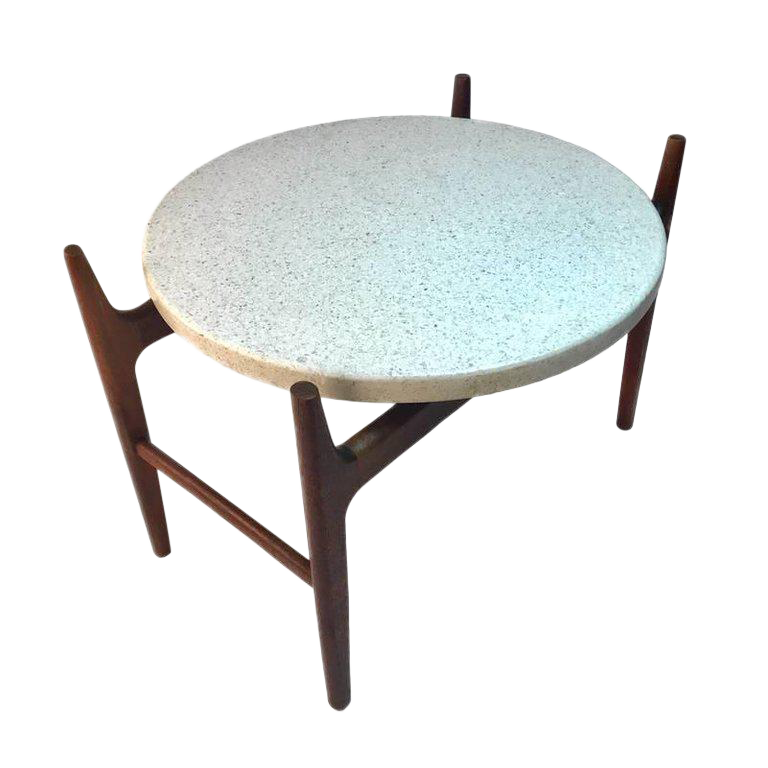 Rare Harvey Probber Sculptural Stilted Walnut Framed With Terrazzo Top Table  For Sale