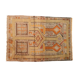 "Vintage Distressed Jijim Rug - 3'8"" X 5'3"" For Sale"