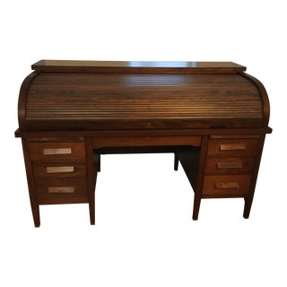 Large Leopold Solid Mahogany Rolltop Desk