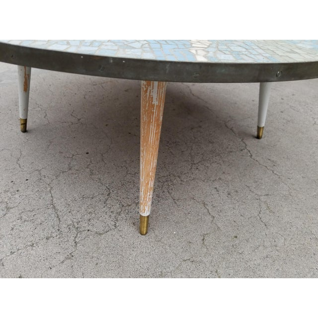 Exceptional Mosaic Tile Coffee Table With Sail Boat For Sale - Image 11 of 13