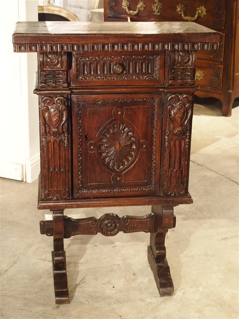 Small Antique Walnut Wood Renaissance Style Cabinet From Italy, Late 1800s    Image 9 Of