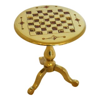 Mniature Brass Tilt-Top Games Table & Light Reflector For Sale