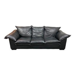 Vintage Leather Factory Black Sofa For Sale