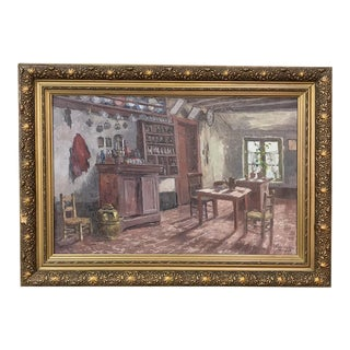 Antique Framed Oil Painting on Canvas by Victor Waegemaeckers For Sale
