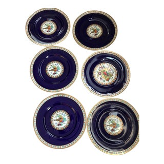 Vintage Gilt Royal Blue With Cornucopia Pattern Dinner Plates - Set of 8 For Sale