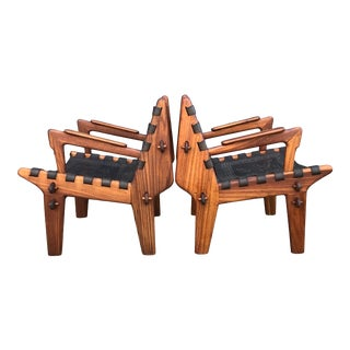 Fantastic! Walnut Leather Lounge Chairs Angel Pazmino For Sale