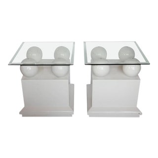Modern Lacquered Side Tables / End Tables - A Pair For Sale