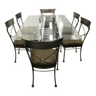 Neoclassical Style Metal Dining Table & Chairs - Set of 7