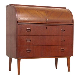 Mid Century Swedish Egon Ostergaard Rolltop Secretary Desk For Sale