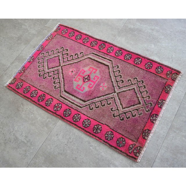 Vintage deep cerise background color yastik rug perfect for a small guest bath or in front of the kitchen sink Dimensions:...