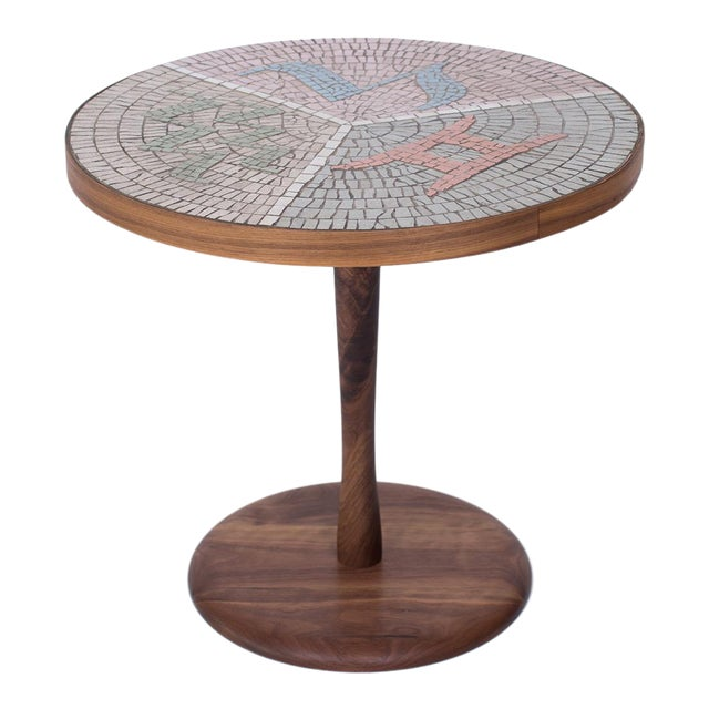 Walnut and Mosaic Side Table For Sale