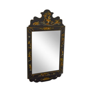 Chinoiserie Vintage Paint Decorated Asian Style Hanging Wall Mirror