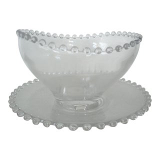 1950s Candlewick Footed Bowl & Underplate - a Pair For Sale