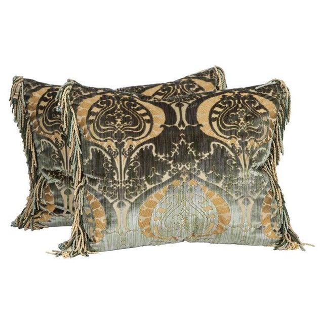 Metal Traditional Luigi Bevilacqua Silk Velvet Pillows - a Pair For Sale - Image 7 of 7