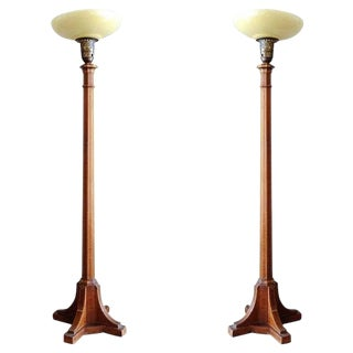 Art Deco Mahogany Torchiere Floor Lamp, Pair For Sale