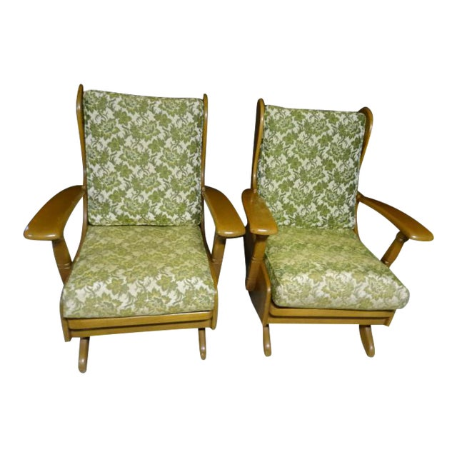 Mid-Century Cushman Style Colonial Platform Rocking Chairs - A Pair For Sale