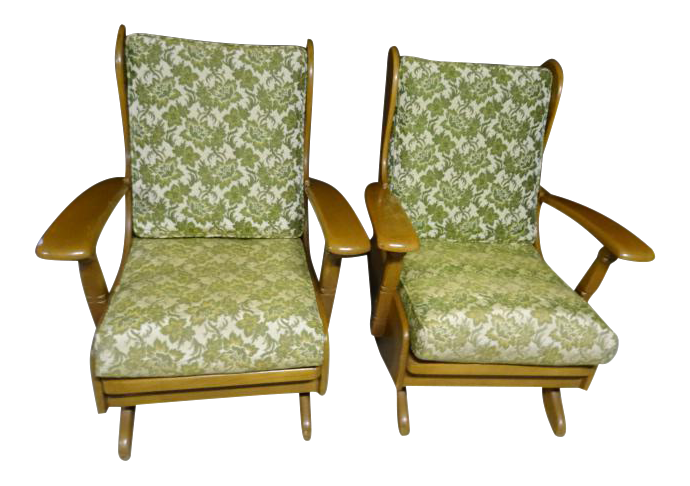 Mid Century Cushman Style Colonial Platform Rocking Chairs   A Pair   Image  1 Of