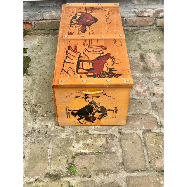 1950s Vintage Cowboys and Indians Wooden Toy Chest For Sale - Image 12 of 13