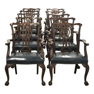 Baker Furniture Chippendale Style Ball & Claw Arm Chairs - Set of 10