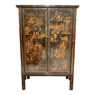 Vintage Chinoiserie-Style Lacquered Wardrobe For Sale