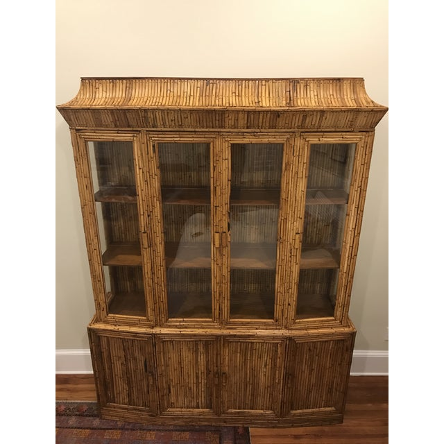 Mid-Century Rattan Bamboo Pagoda Breakfront / China Cabinet For Sale - Image 10 of 10