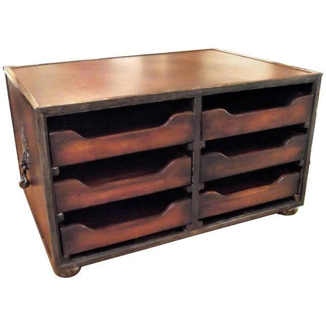 Animal Skin Theodore Alexander Mahogany & Leather Desk Organizer For Sale - Image 7 of 7