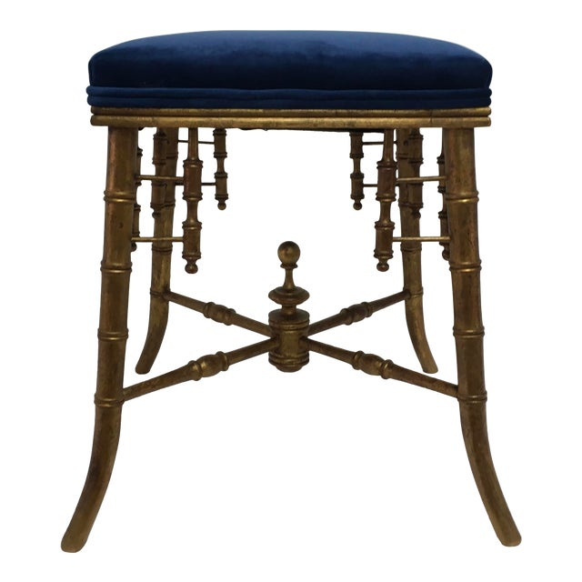 Antique Faux Bamboo Stool For Sale
