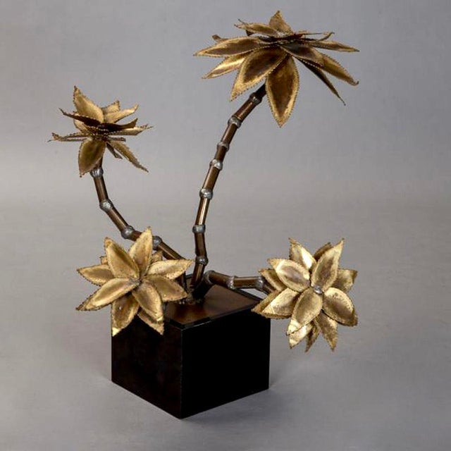 Maison Jansen Mid Century Brass Metal Flower Sculpture in Manner of Maison Jansen For Sale - Image 4 of 6