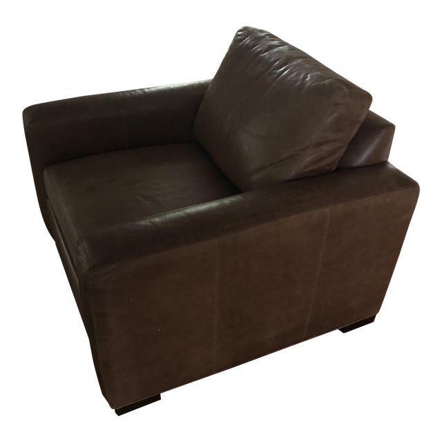 Ethan Allen Distressed Leather Hudson Club Chair - Image 1 of 7