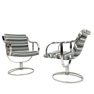 Pair of Steel Case Leather Swivel Chairs For Sale