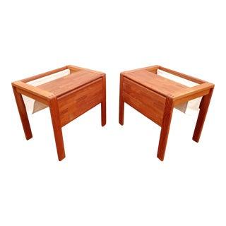 1960s Mid-Century Teak Magazine Rack Side Tables - a Pair For Sale